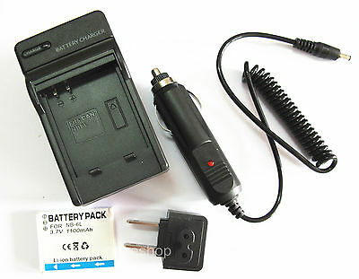 Battery + Charger For Canon PowerShot SD1200IS SD1300IS SD770IS Digital Camera