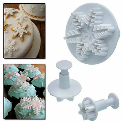 3pcs Snowflake Flower Snow Fondant Cake Decorating Icing Craft Plunger Cutter FT