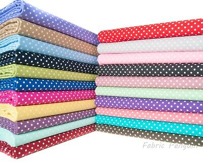 "POLKA DOT FABRIC 3mm 100% Cotton 45"" ROSE & HUBBLE Craft Spotty Dots Spots"