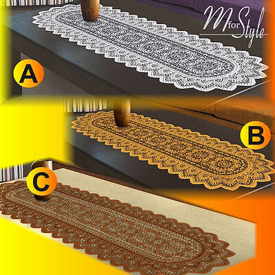 "Table Runner Lace White or Antique Gold Polyester 14"" x 47"""