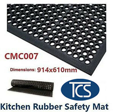 TCS Kitchen Bar & Wet Area Rubber Safety Mat 914 x 610mm Std Anti-Slip Matting