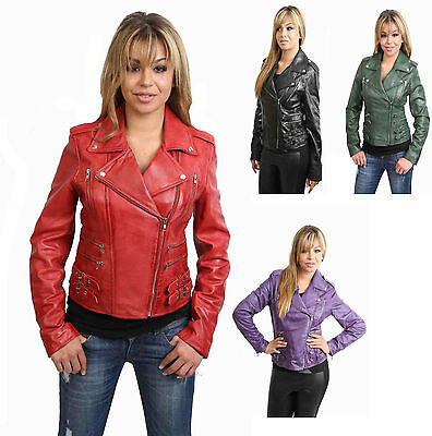 MOST popular womens fitted biker House Of Leather jacket Black Green Red Purple
