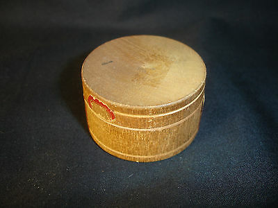 Old Vtg Antique Collectible Circle Circular Wood Box With Pins Inside