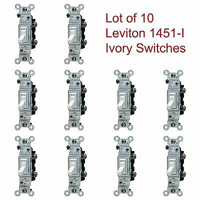 LOT of 10 LEVITON Ivory Framed Toggle Wall Light Switches 15A 120V 1451-I NOS