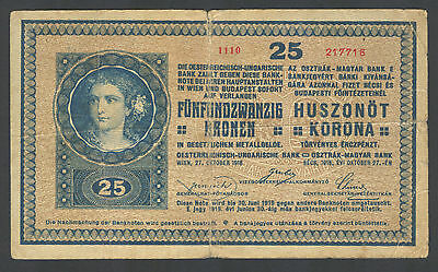 AUSTRIA - 25 Kronen/Korona 1918 Note (P 23) - Serial# 1001-1999 Error in catalog