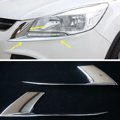 New Chrome Head Light Trim Eyelid For Ford Kuga Escape 2013 2014 2015 2016