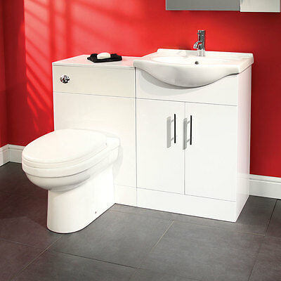 Classic White 650mm Vanity Basin Unit With Modern Back To Wall Toilet Pan WC