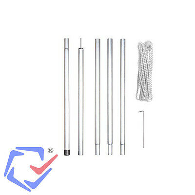 Shade Sail 2,5 M Pole Kit Rope Hook Easy Setup Perfect For Beach Or Camp