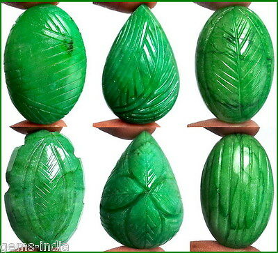 Certified Lot~503 Ct//6 Pcs Natural Brazilian Finest Green Hand Carved Emeralds