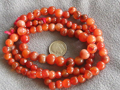 """27"""" Strand Vintage African Trade Beads Carnelian Agate Graduated"""