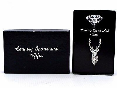 Stag Head Finest English Pewter Lapel Pin Badge Brooch - Hand Made - Gift Box