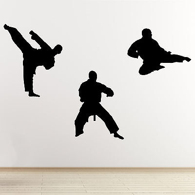 Martial Arts Wall Sticker - Pack of 3 Karate / Taekwondo Sports Action Stickers