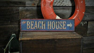 The Beach House Directional Sign - Rustic Hand Made Vintage Wooden ENS1000478