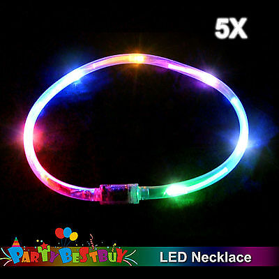 5x Flashing LED Necklace Light-Up Rainbow Blinking Glow in the dark Party Toy