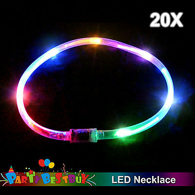 20x Flashing LED Necklace Light-Up Rainbow Blinking Glow in the dark Party Toy