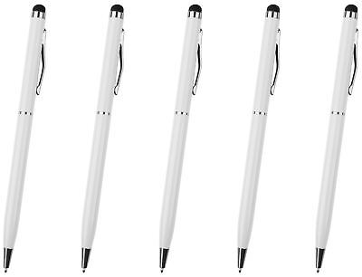 Hellfire Trading 5x White Stylus with Ball Point Pen for Tablets iPad Smartphone