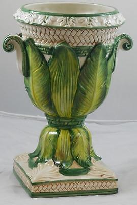 Fitz and Floyd Cape Town Vase Leaves and Basketweave