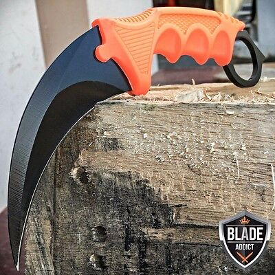 TACTICAL COMBAT KARAMBIT NECK KNIFE Survival Hunting BOWIE Fixed Blade Orange