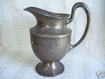 "Antique Old W B Mfg Co Silver Plated  Pitcher Water Jug  9"" Tall 4 1/2"" Bottom"