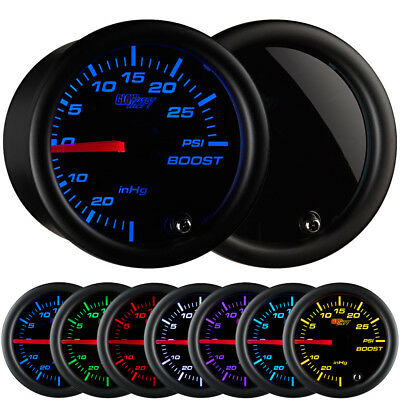 52mm GlowShift 7 Color PSI Turbo Boost Gauge Meter Kit w. Smoked Face