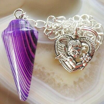 Purple Agate Pendulum With Tibetan Heart divination Dowsing Reiki Wicca