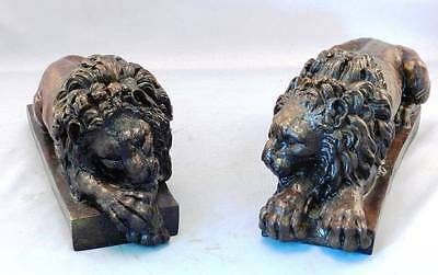 Pair of Bronze Resting Lion by CANOVA Handmade Real Bronze Metal Casting Bookend