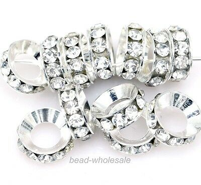 15Pcs Hot 2 colors Plated Clear Crystal Rhinestone Big Hole Metal Spacer Beads