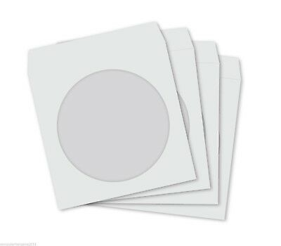 50 WHITE CD DVD BD-R BDR 120GSM PREMIUM Paper Sleeves with Clear Window Cover
