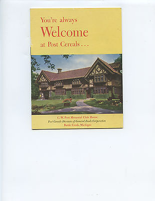 """Vintage """"you're Always Welcome At Post Cereals"""" Booklet (Battle Creek, Michigan)"""