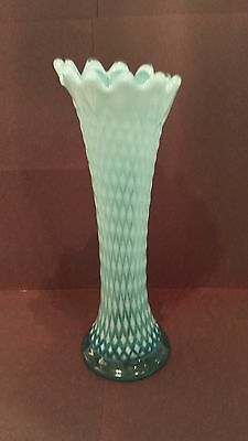 FENTON BLUE OPALESCENT HOBNAIL 10.75 inch Diamond Design Vase