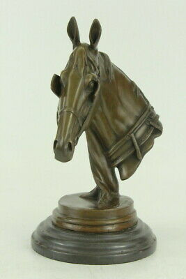 Solid Bronze Mene Horse Head Sculpture Bust Marble Base Art Deco Figurine