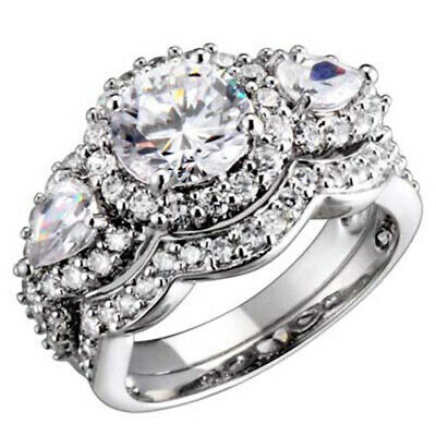 Sterling Silver 3 Stone Round/Pear Cubic Zirconia Antique Style Wedding Ring Set