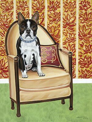 "BOSTON TERRIER DOG ART PRINT - Sitting on Art Deco Chair - ""Oreo Cookie"""