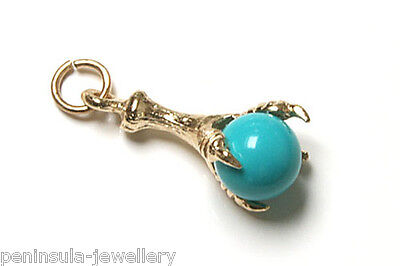 9ct Gold Turquoise ball and Claw bracelet charm Gift Boxed Made in UK