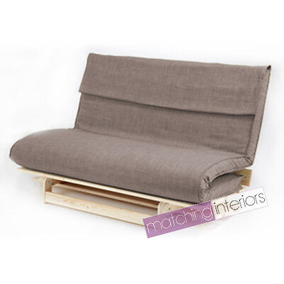 Grey Double 2 Seater Fabric Complete Futon Wood Base & Folding Mattress Sofa Bed