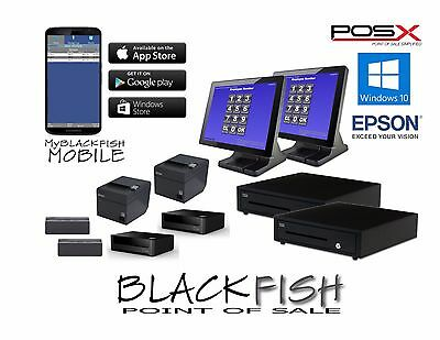 All New 2 Station Complete Blackfish Bar Restaurant POS System Touch Windows8/10