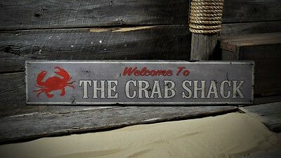Custom Welcome to Crab Shack Sign - Rustic Hand Made Vintage Wooden ENS1000496