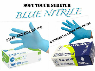 Soft Touch Stretch BLUE NITRILE Powder Latex Free GLOVES Box Boxes 100 200-500