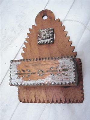 Early Wooden Tramp Art Match Safe Holder Fireplace Tool Keeper Cigar Box Pocket