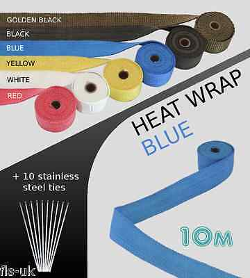 EXHAUST HEAT WRAP with ties - 10 METRE - BLUE - 10M-BLU