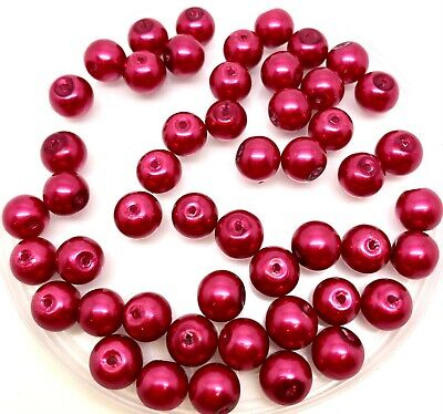 6mm Glass faux Pearls - Hot Pink - 100 beads, jewellery making