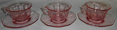 Set (3) Camridge PINK DECAGON PATTERN Cups and Saucers + 1 Extra Cup