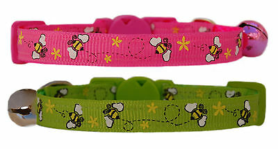 "hot pink or lime green & yellow bumble bee  safety kitten cat up to 12"" collar"