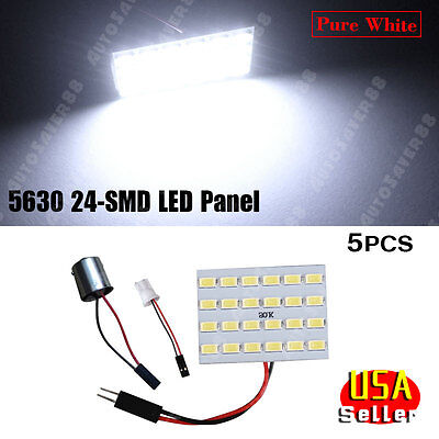 5X Xenon white Samsung 5630 24-SMD LED Light Door Map Dome Panel+T10 1156 BA15S