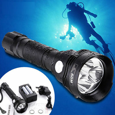 AGM 2000Lumen CREE XM-LL2 Scuba LED Diving Flashlight Torch to 100M with battery