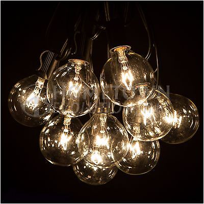 G50 Clear Outdoor Globe Patio String Lights (50', 100' and 25' Lengths)