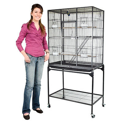 "62"" Inch Large Black Parrot Bird Cockatiel Parakeet Finch Cage Gym Perch Stand"