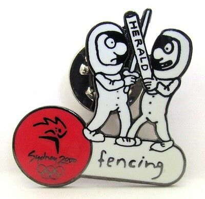 Fencing Morning Herald Cartoon Sydney Olympic Games 2000 Pin Badge Collect #60
