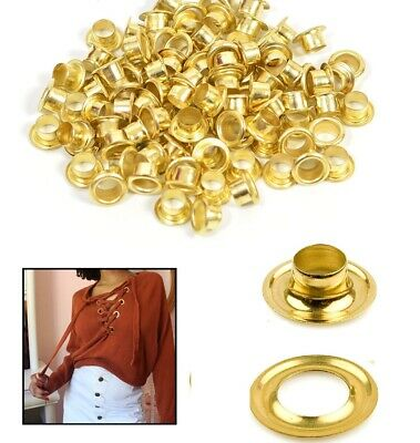 100pcs Iron Gold Eyelets with Washers for Craft Banner Clothing Shoes Decoration