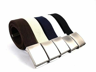 Plain Webbing Cotton Canvas Belt Shiny Silver Buckle Army Fabric Men's Accessory